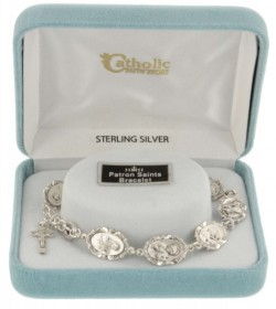 Eight Saints Sterling Silver Charm Bracelet with Crucifix [HRB1014]