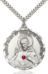 Elegant Sacred Heart of Jesus Pendant with Birthstones [BLST0203]
