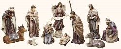 "Eleven Piece Christmas Nativity Set Plum Tones 12""H [RM0565]"