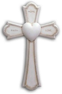 Faith, Hope and Love Cross, Antiqued Resin - 7 1/4 inch [GSS067]