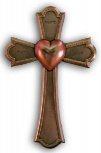 Faith, Hope and Love Cross, Bronzed Resin - 7 1/4 inch [GSS066]