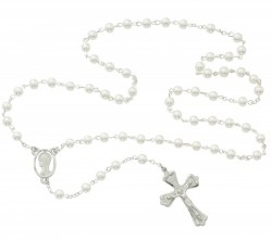 Faux Pearl Rosary with Blessed Mother centerpiece [MVRB1098]