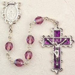 February Birthstone Rosary (Amethyst) - Rhodium Plated [MVR014]