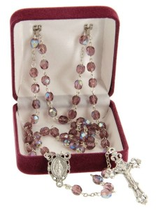 February Purple Aurora Glass Bead Rosary [MVRB1132]