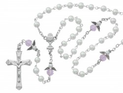 First Communion Angel Rosary with White Beads [MV1076]