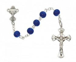 First Communion Blue Glass Rosary with Sterling Silver [MV1043]
