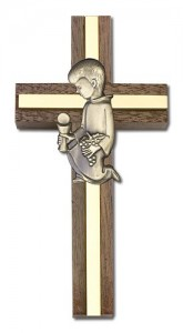 First Communion Boy Wall Cross in Walnut and Metal Inlay 4 inch [CRB0025]