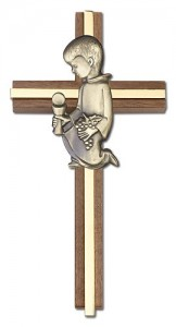 First Communion Boy Wall Cross in Walnut and Metal Inlay - 6 inch  [CRB0066]