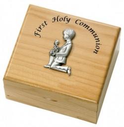 First Communion Boy's Maple Wood Keepsake Box [SRB1004]