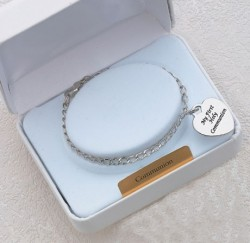 First Communion Bracelet with Heart Pendant [MVC089R]