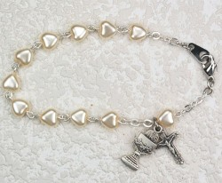 First Communion Bracelet with White Pearl Heart Shaped Beads [MVC094]