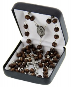 First Communion Brown Wood Rosary with Chalice Centerpiece [MVCR004]