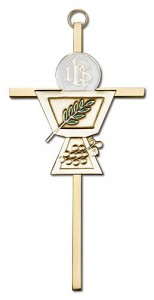 "First Communion Chalice and Holy Host Wall Cross 6""  [CRB0044]"