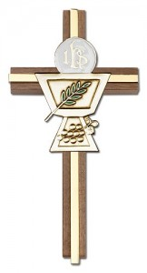 First Communion Chalice and Holy Host Wall Cross in Walnut Wood and Metal Inlay - 6 inch [CRB0058]