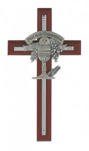 "First Communion Cherry Wood Wall Cross - 7""H [CR3965]"