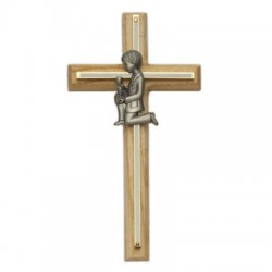"First Communion Cross Boy's in Oak and Brass - 8""H [SNCR1013]"