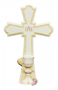 First Communion Cross, White & Pastels - 7 1/4 inch [GSS065]