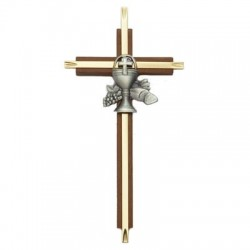 First Communion Cross in Walnut and Brass - 7 inch [SNCR1025]
