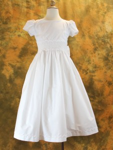 First Communion Dress Cotton Blend with Smocked Waist [LCD108]