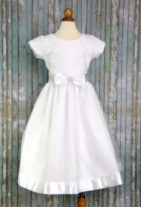 First Communion Dress Embroidered Tulle Sequins [LCD153]