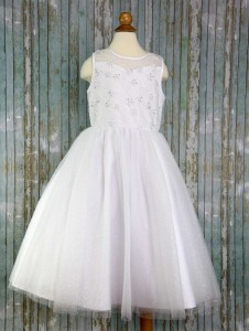 First Communion Dress Lace Floral Bodice [LCD999]