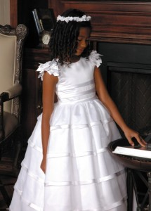 First Communion Dress in Satin with Layered Organza Skirt [SCD069]
