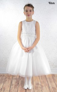 First Communion Dress with Beaded Sunburst Size 7,8 [SCD494]