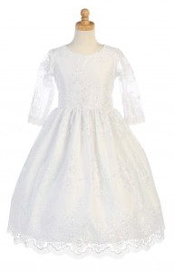 First Communion Dress with Heavy Floral Lace [LCD139]