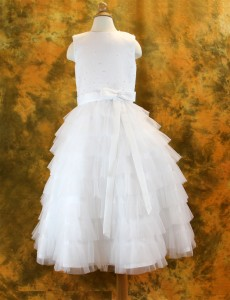 First Communion Dress Tiered Layered Tulle Skirt,  Size 6 [SCD473]