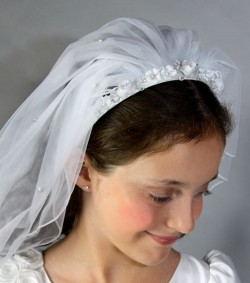 First Communion Flower Headband Veil [HP7065]