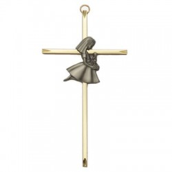 First Communion Girl's Brass Cross - 7 inch [SNCR1008]