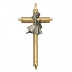 First Communion Girl's Oak and Brass Cross - 7 inch  [SNCR1010]