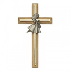 First Communion Girl's Oak and Brass Cross - 8 inch [SNCR1014]