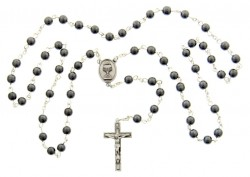First Communion Hematite Rosary with Chalice Centerpiece [MVCR003]
