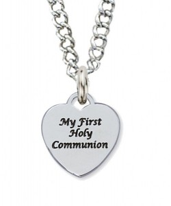 First Communion Necklace with Sterling Silver Heart Pendant [MVC0091]