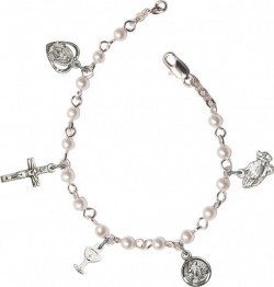 Girls First Communion Pearl Charm Bracelet [BR3010]