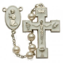 First Communion Pearl Rosary with Praying Girl Centerpiece   [SNC0067]