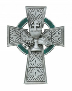 "First Communion Pewter Celtic Cross - 4 3/4"" H [MVC010]"