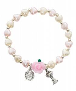 First Communion Stretch Rose and Miraculous Bracelet [MV1032]