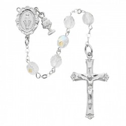 First Communion Tin Cut Crystal Rosary with Miraculous Centerpiece [MVCR66]