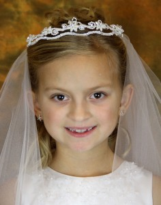 First Communion Veil with Pearl and Rhinestone Floral Headpiece [AJV3007]