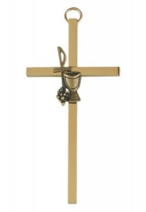 First Communion Wall Cross Gold Plate 4 Inches [MV1003]
