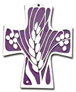 First Communion Wheat and Grapes Wall Cross - 6 inches [TCG0097]