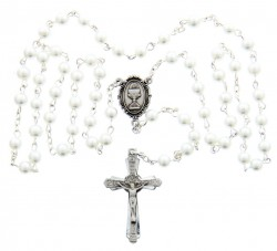 First Communion White Pearl Rosary with Chalice Centerpiece [MVCR001]