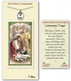 First Holy Communion Medal in Pewter with Prayer Card [BLPCP004]