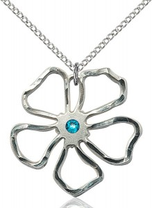 Five Petal Flower Pendant with Birthstone Center [BLST5109]