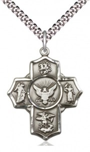 Five Way Cross Navy Necklace [BM1015]
