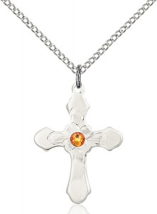 Floral Center Youth Cross Pendant with Birthstone Options [BLST60364]