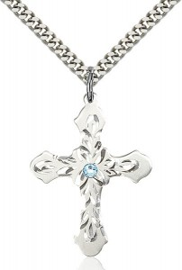 Floral and Petal Cross Pendant with Birthstone Options [BLST60373]
