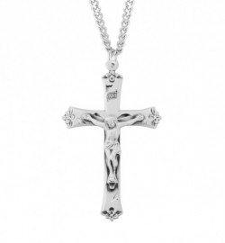 Flower Tip Men's Crucifix Necklace [HMM3300]